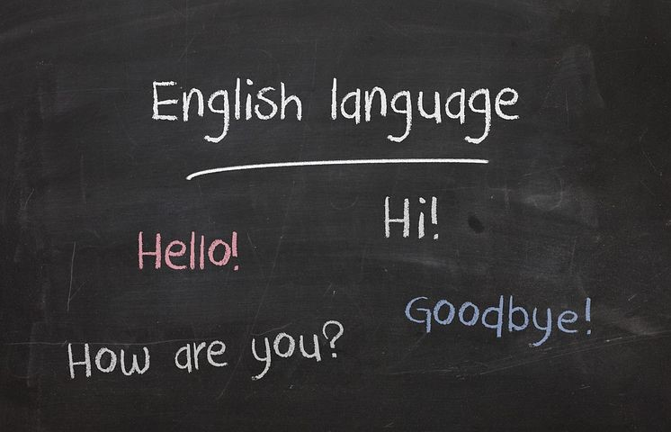 """board with different words o English with the phrase """"English language"""""""